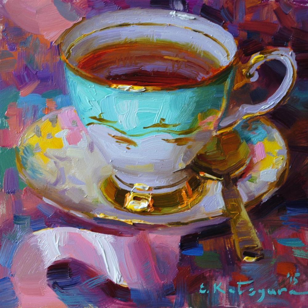 """Teacup and Pink Ribbon"" original fine art by Elena Katsyura"