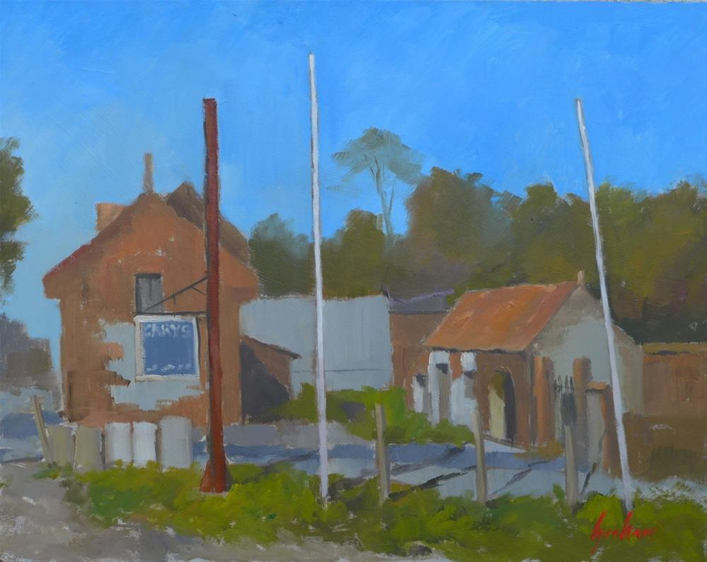 """Gary's garage"" original fine art by Graham Townsend"