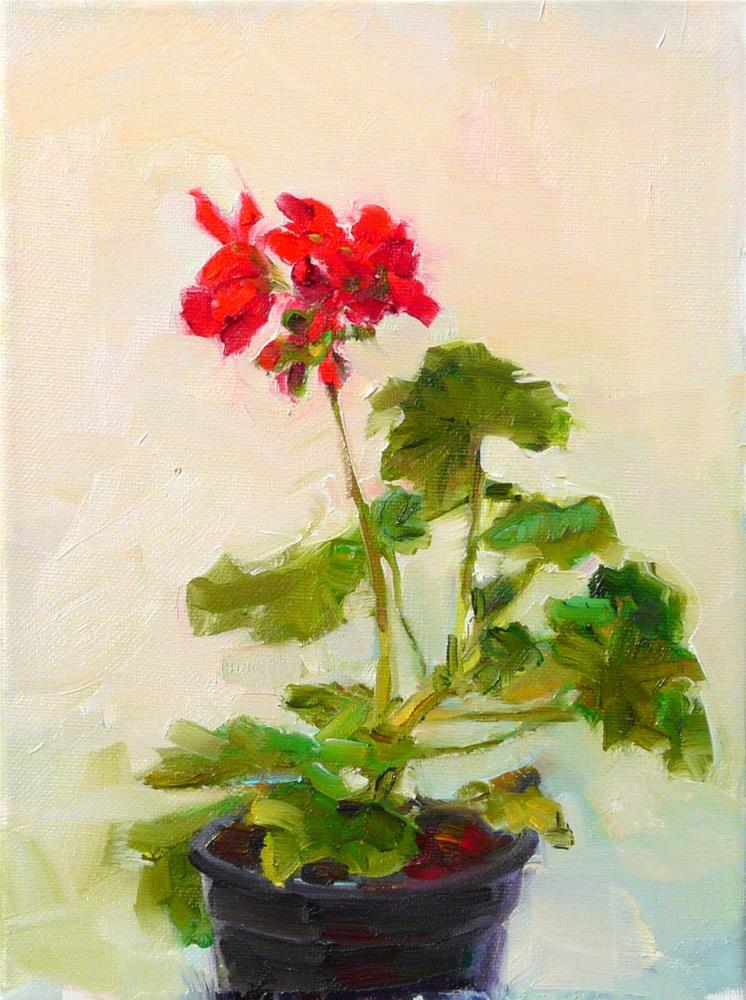 """March Geranium,still life,oil on canvas,12x9,price$400"" original fine art by Joy Olney"