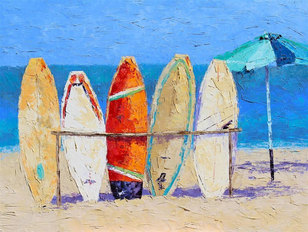 """Resting on the Beach"" original fine art by Leslie Saeta"