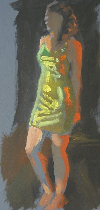 """Green dress"" original fine art by Peter Orrock"