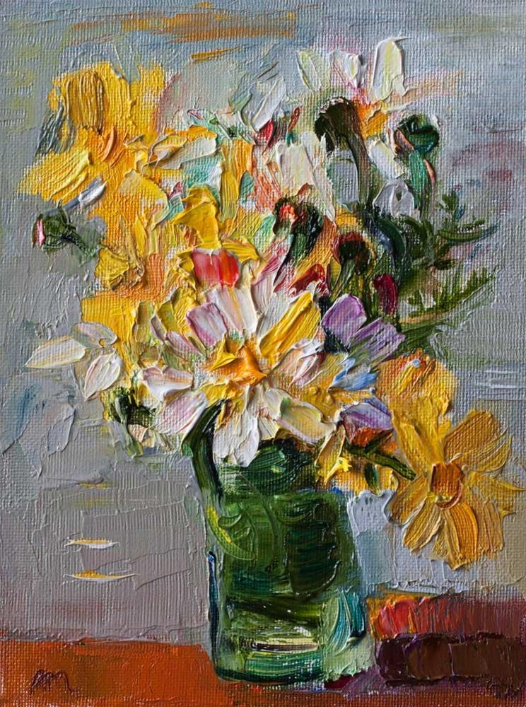 """Bouquet of Spring Wild Flowers in a Green Vase"" original fine art by Anna  Fine Art"