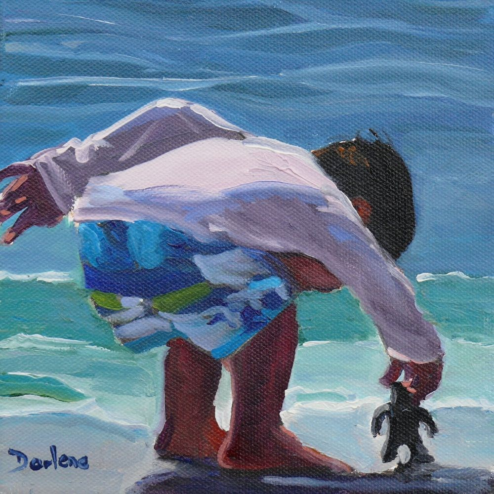 """Surf Walker"" original fine art by Darlene Young"