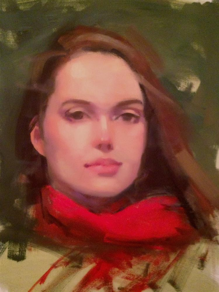 """Red Scarf, 12x16"" original fine art by Ann Feldman"