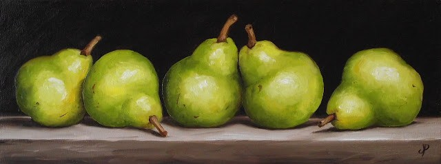 """Five Williams Pears"" original fine art by Jane Palmer"
