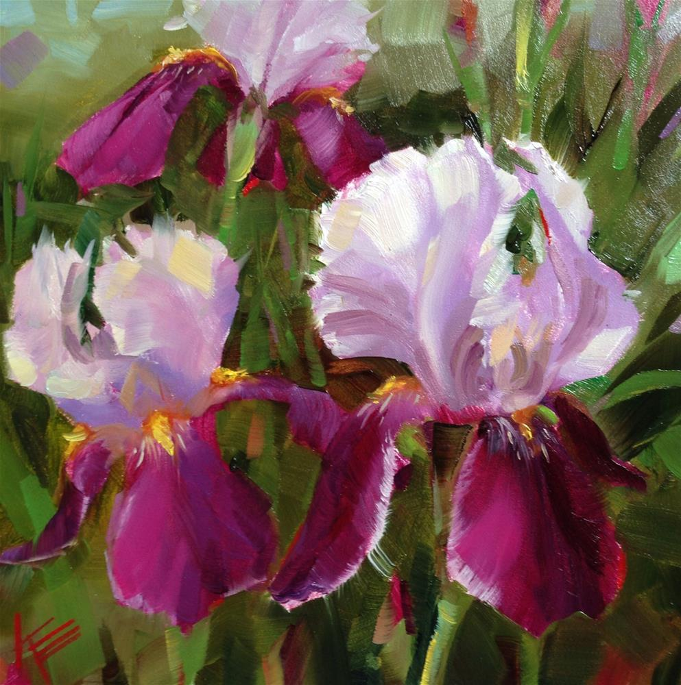 """Purple Irises"" original fine art by Krista Eaton"
