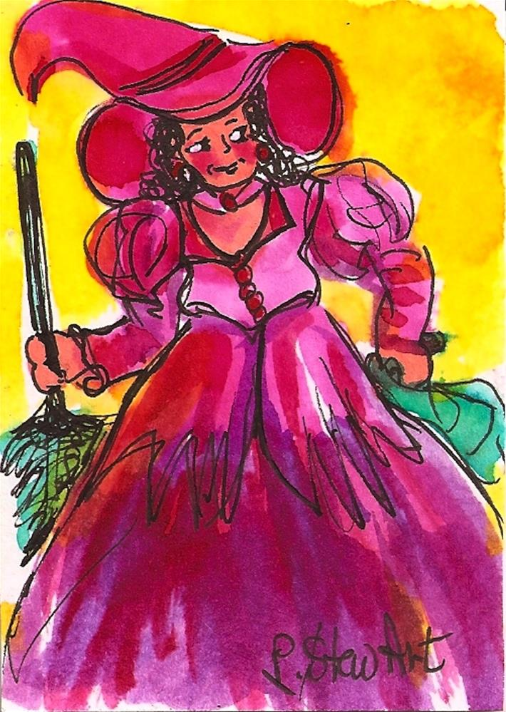 """ACEO:  Halloween Pink Witch Costume watercolor & pen Original Illustration"" original fine art by Penny Lee StewArt"