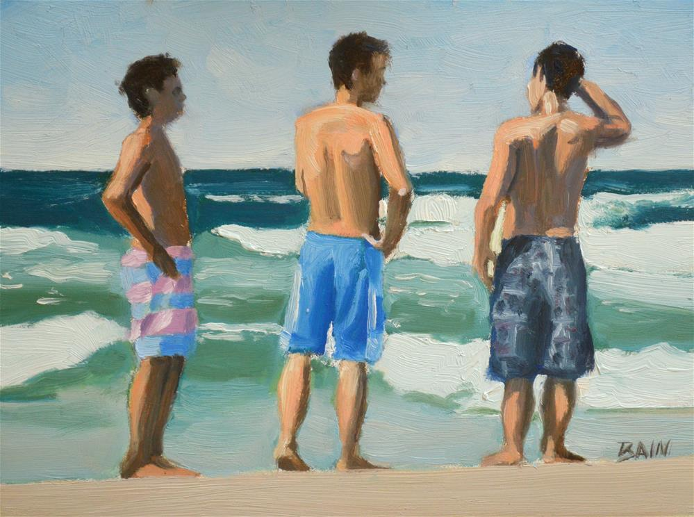 """3 Boys"" original fine art by Peter Bain"