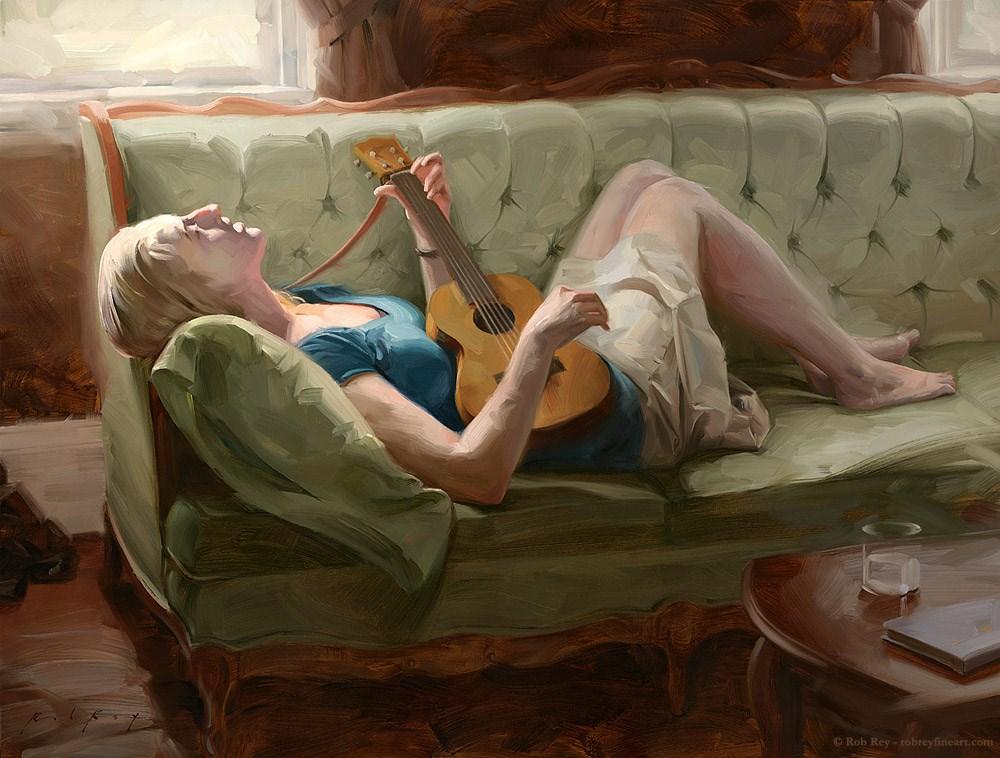 """Ukulele Singer"" original fine art by Rob  Rey"