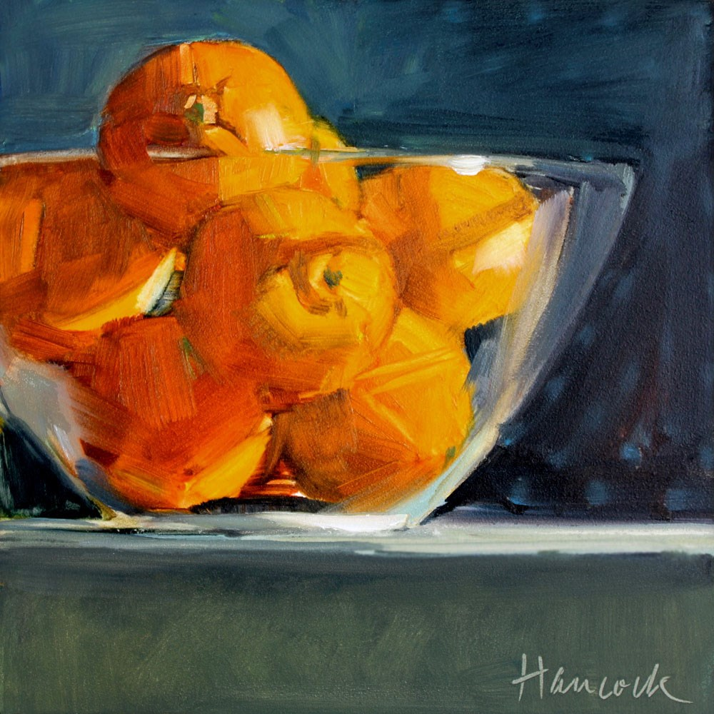 """Bowl of Clementines"" original fine art by Gretchen Hancock"