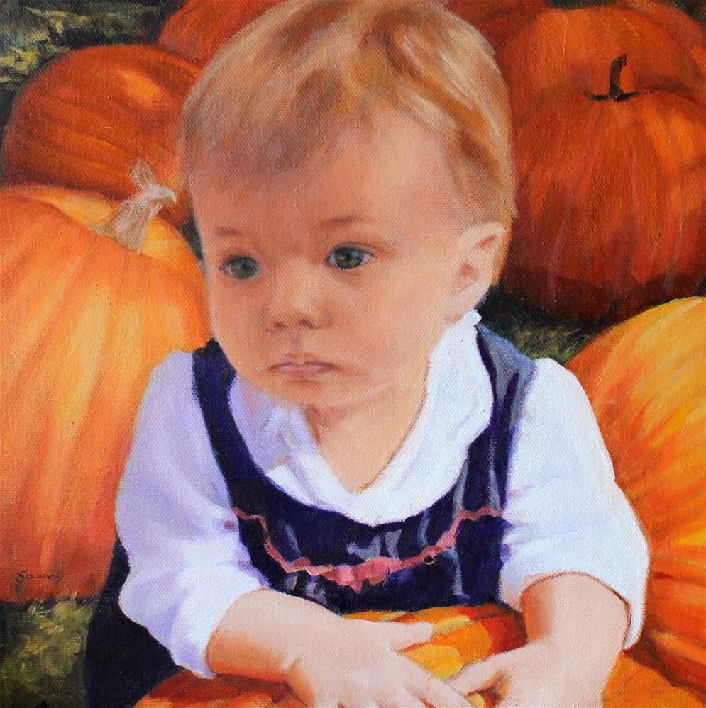 """Katherine, our grand daughter, guarding her pumpkin."" original fine art by Joan Carroll"