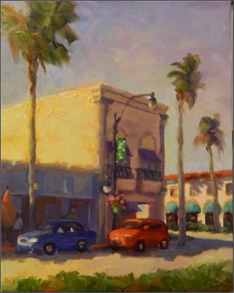 """Morning Light, Venice Avenue, 11x14, plein air, paintings of venice Florida, Venice Ave, street sc"" original fine art by Maryanne Jacobsen"