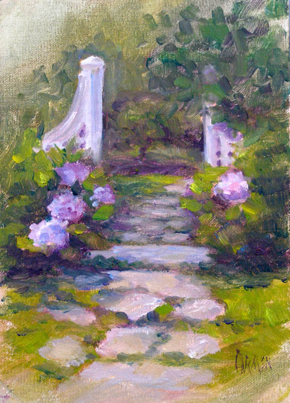 """Andrea's Gate, 5x7, Oil on Canvas Panel"" original fine art by Carmen Beecher"