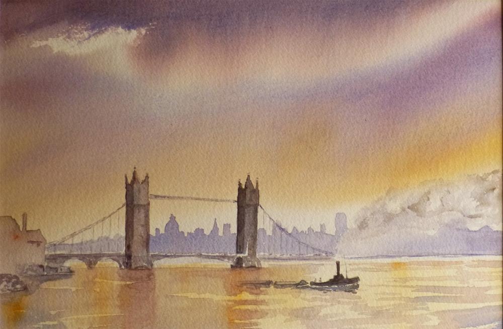 """Tower Bridge Sunset, London"" original fine art by Peter Wellington"