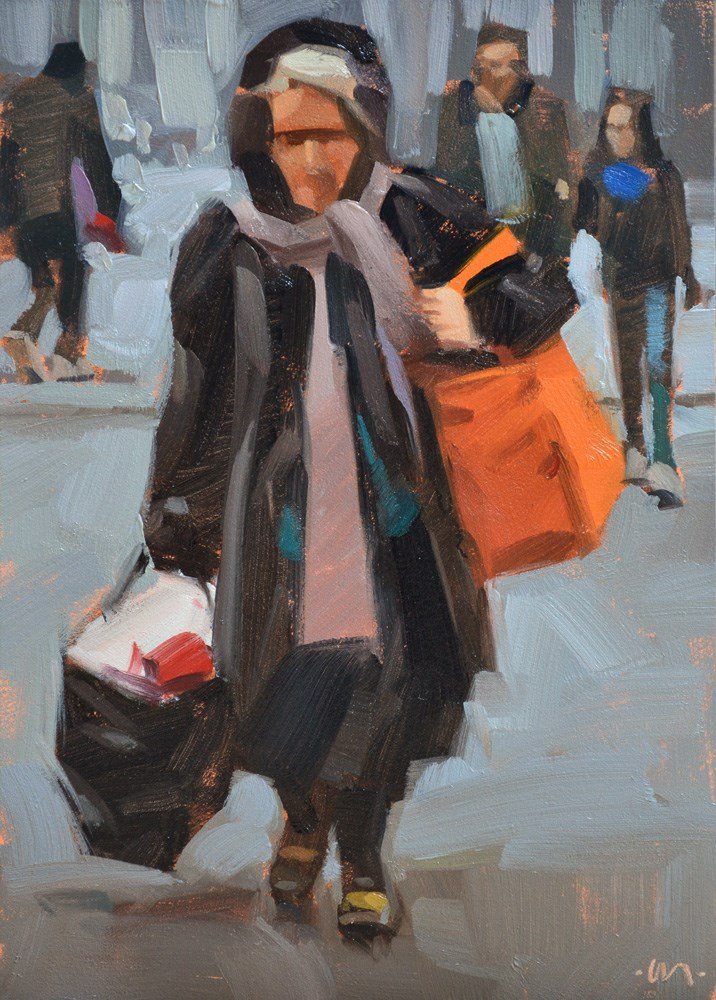 """""""Bag Lady"""" original fine art by Carol Marine"""
