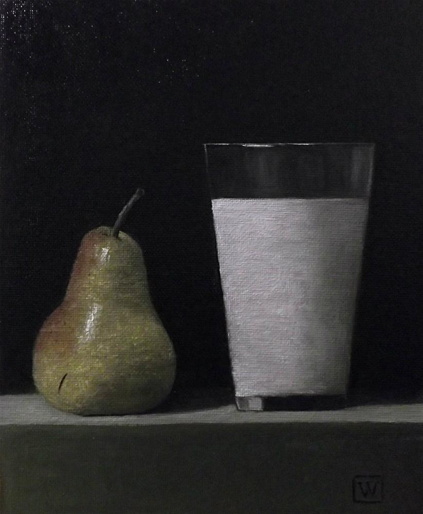 """Pear and milk"" original fine art by Joe Wojdakowski"