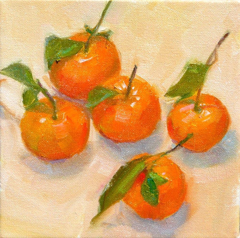 """Mandarins,still life,oil on canvas,8x8,price$350"" original fine art by Joy Olney"