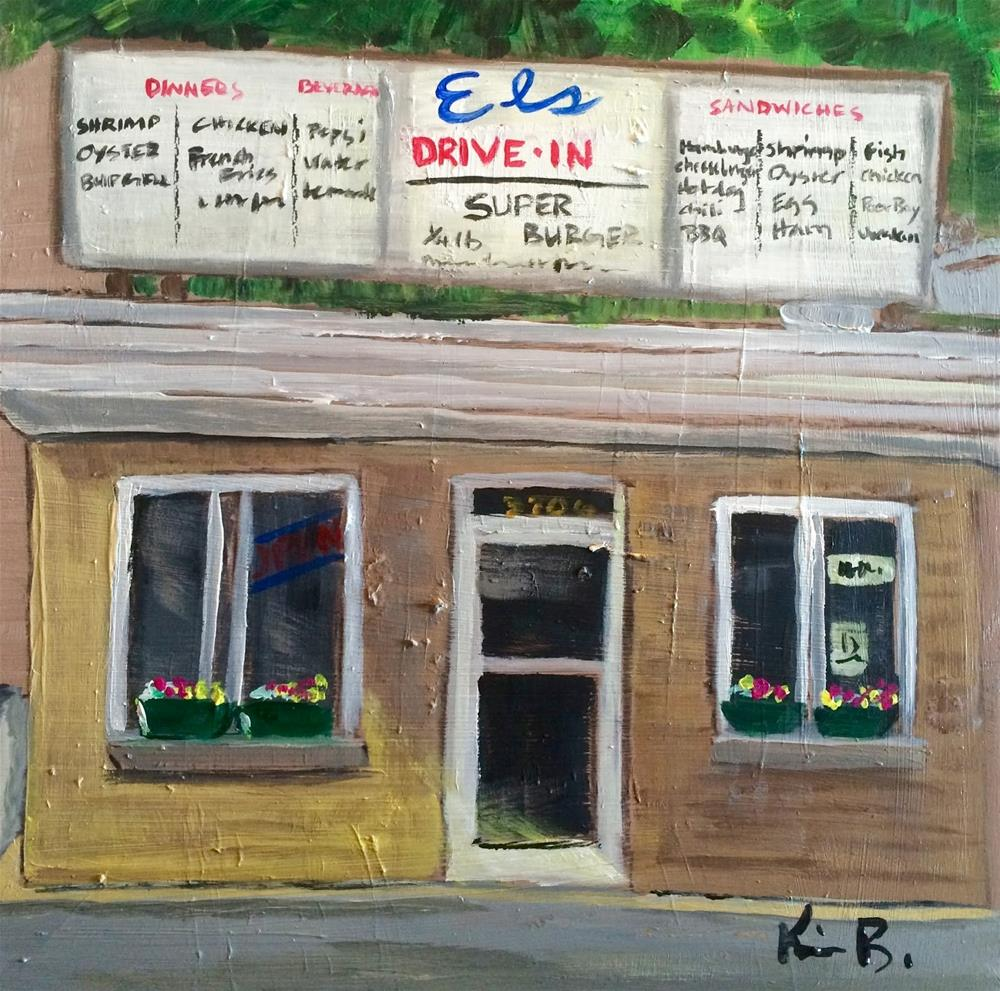 """El's Shrimp Burger"" original fine art by Kimberly Balentine"