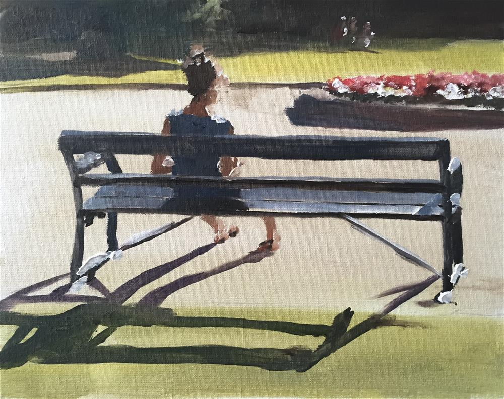 """Woman on Bench"" original fine art by James Coates"