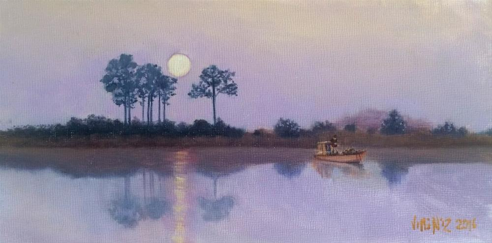 """Moonlight fishing 4 X 8 oil on panel"" original fine art by Paulo Jimenez"