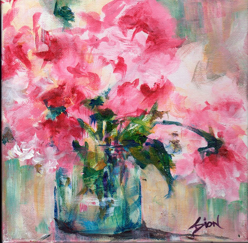 """Pink Roses Redefined"" original fine art by Sue Dion"