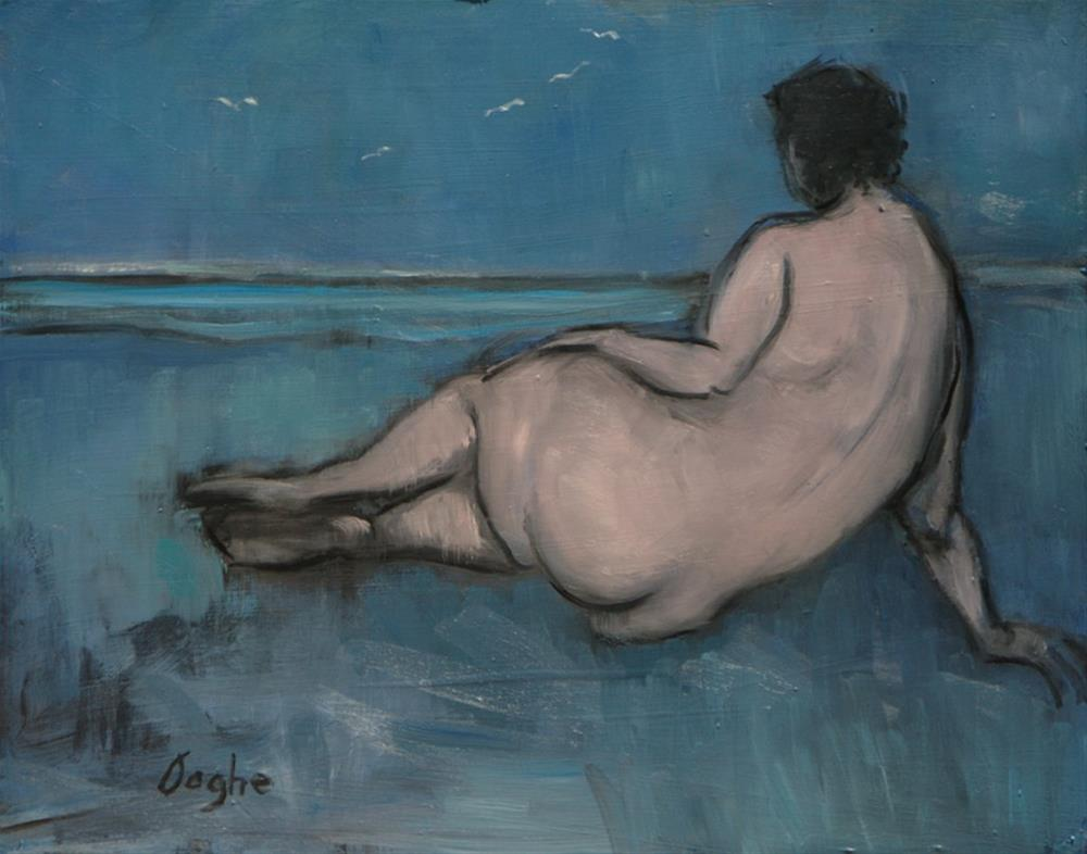 """Nude on Blue Beach"" original fine art by Angela Ooghe"