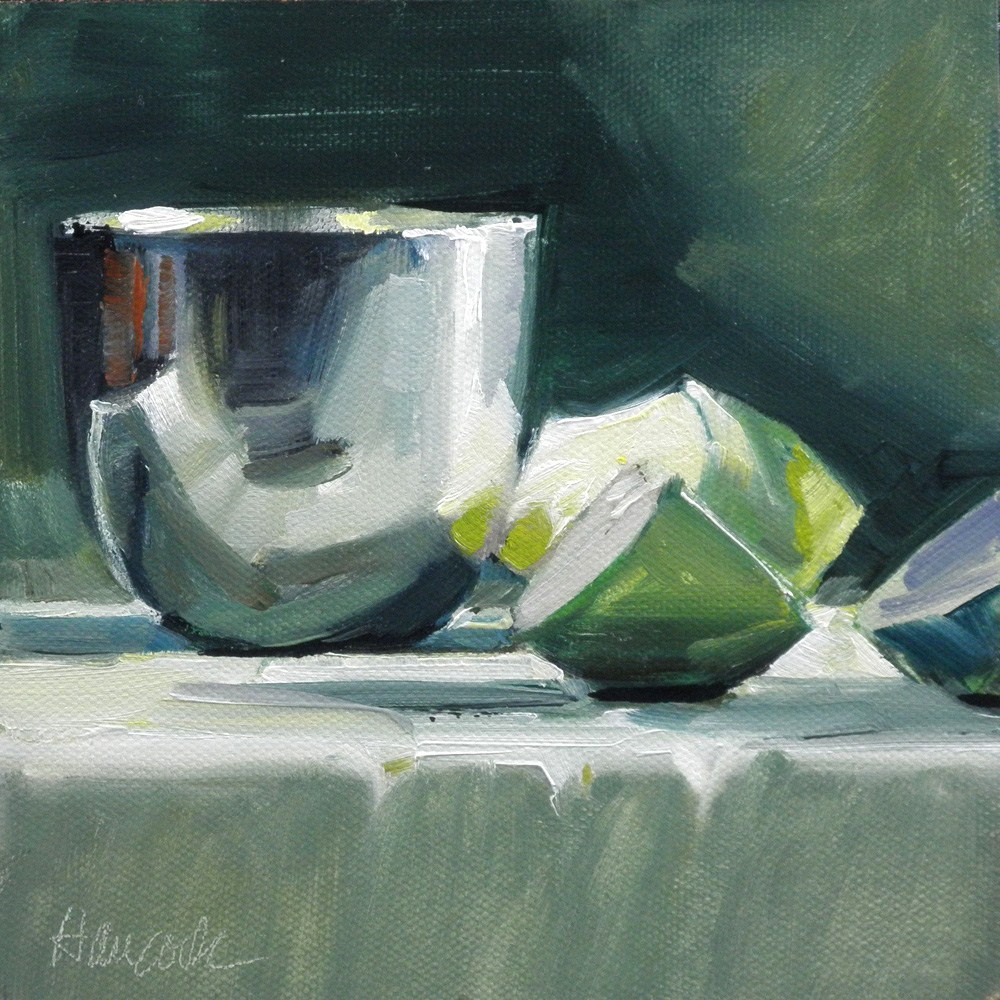 """Black and Green, Apple Slices and Pewter"" original fine art by Gretchen Hancock"