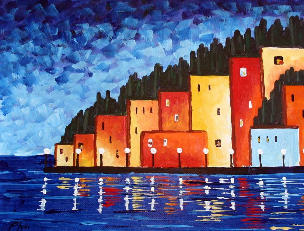"""CITY AT NIGHT"" original fine art by Bob Phillips"