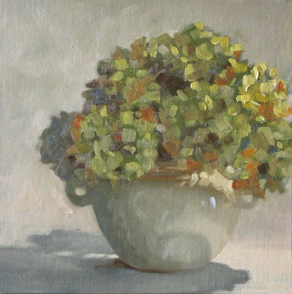"""Green Hydrangea Bouquet 8x8 oil"" original fine art by Claudia Hammer"