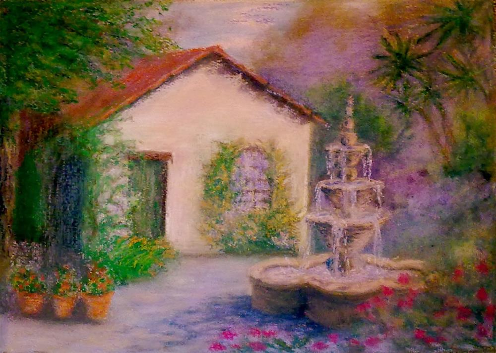"""Cottage in Carmel  with Fountain"" original fine art by Jules Fine Art Gallery"