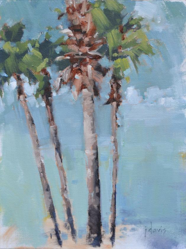 """Texas Palms Study"" original fine art by Julie Davis"