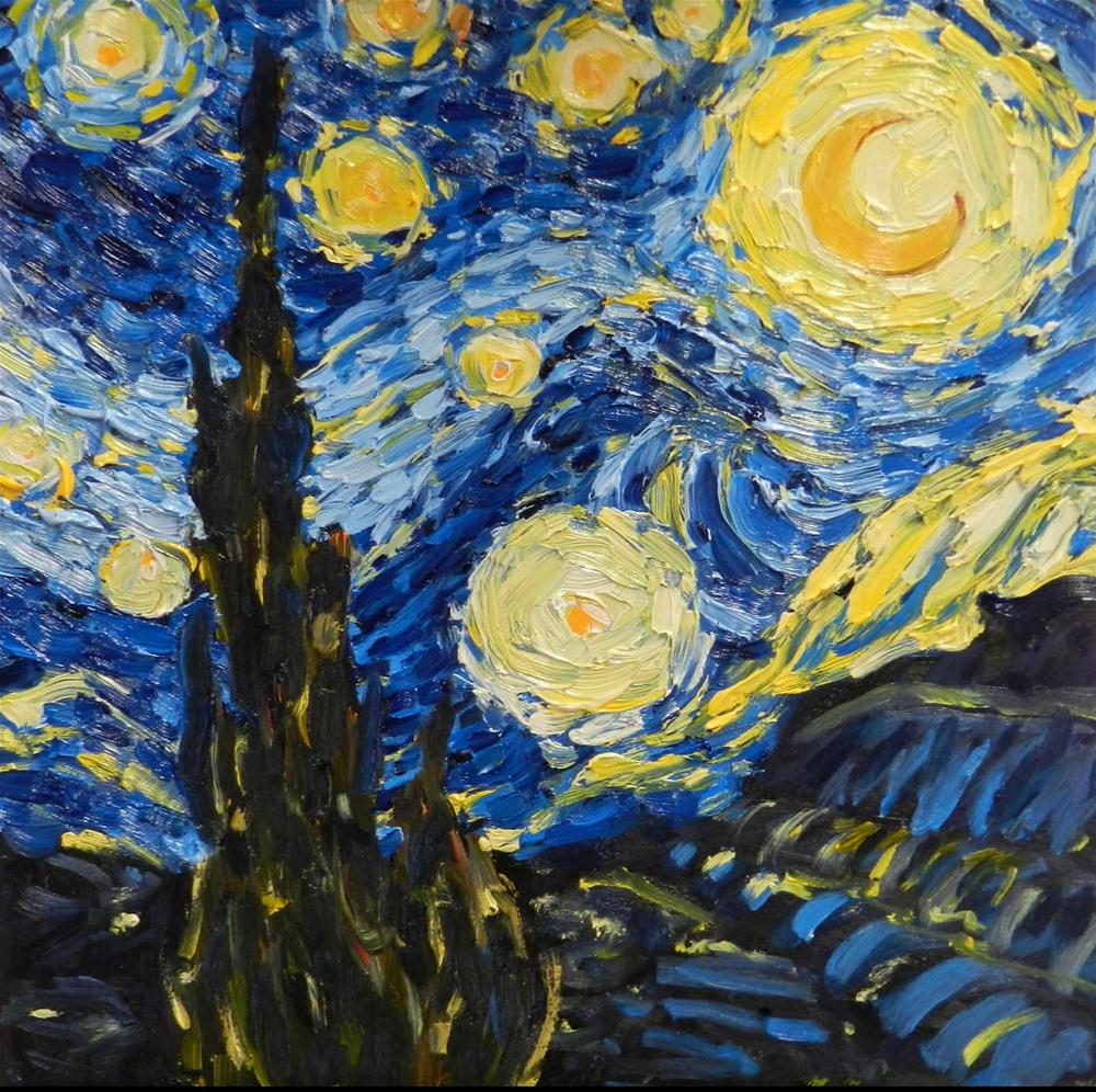 """Starry, Starry Night, 8x8 Inch Oil Painting byKelley MacDonald"" original fine art by Kelley MacDonald"