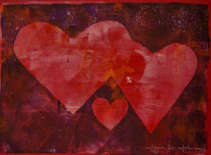 """Heart Monotype 1"" original fine art by Jana Johnson"