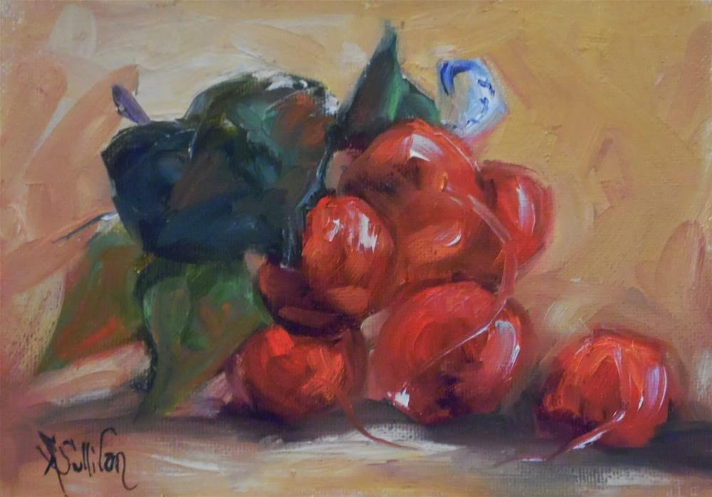 """On My Table radish painting by Alabama Artist Angela Sullivan"" original fine art by Angela Sullivan"