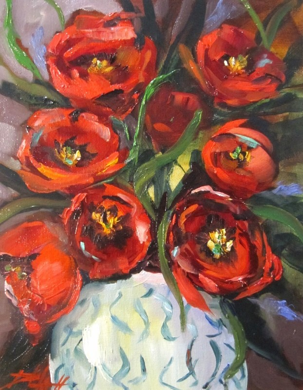 """Red Tulips"" original fine art by Delilah Smith"