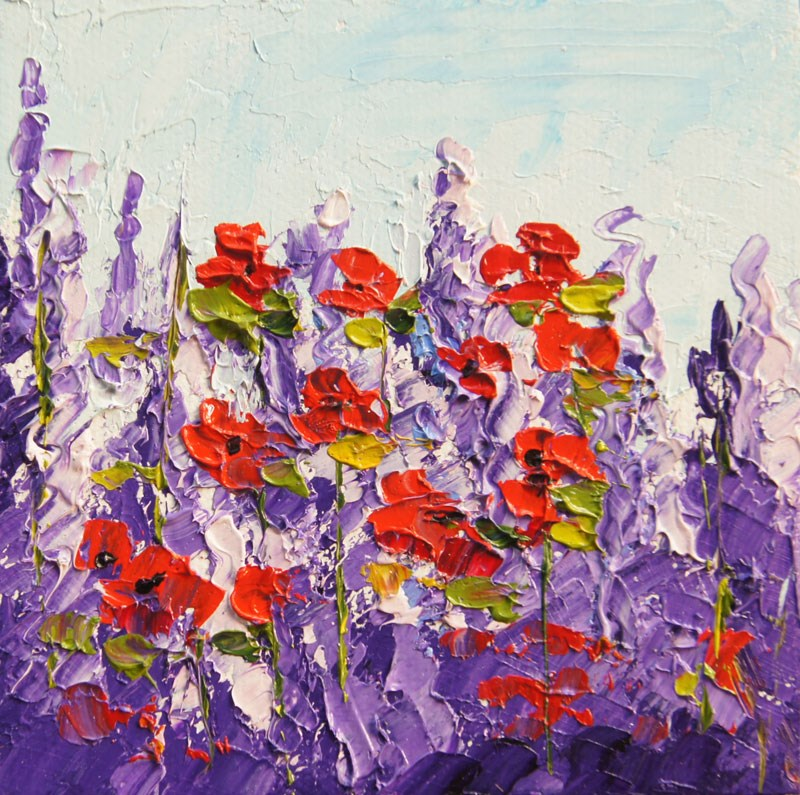 """Poppy Waltz palette knife painting"" original fine art by Marion Hedger"