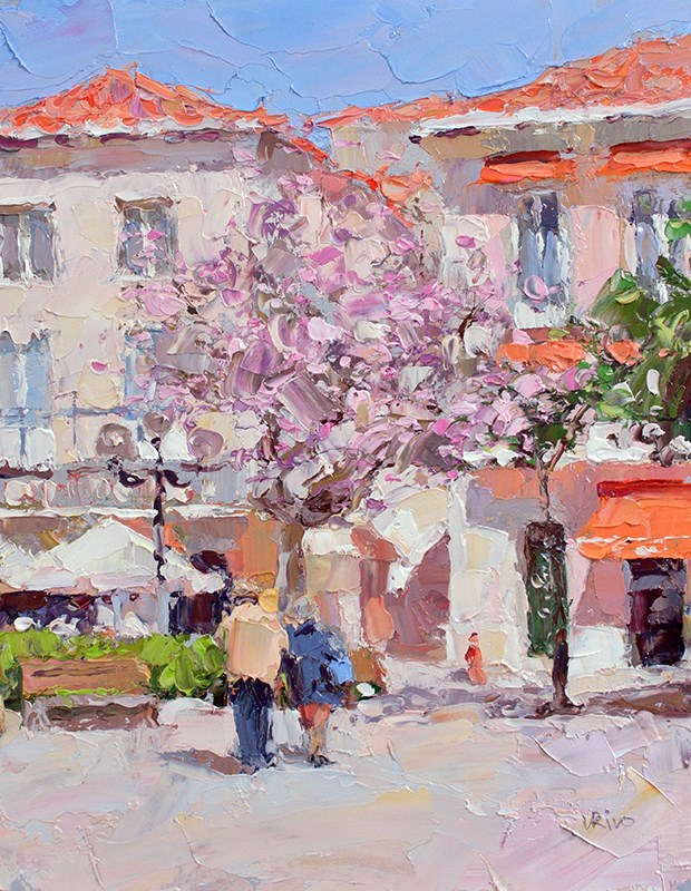 """Magnolia Tree In Bloom - Setubal"" original fine art by Lena  Rivo"