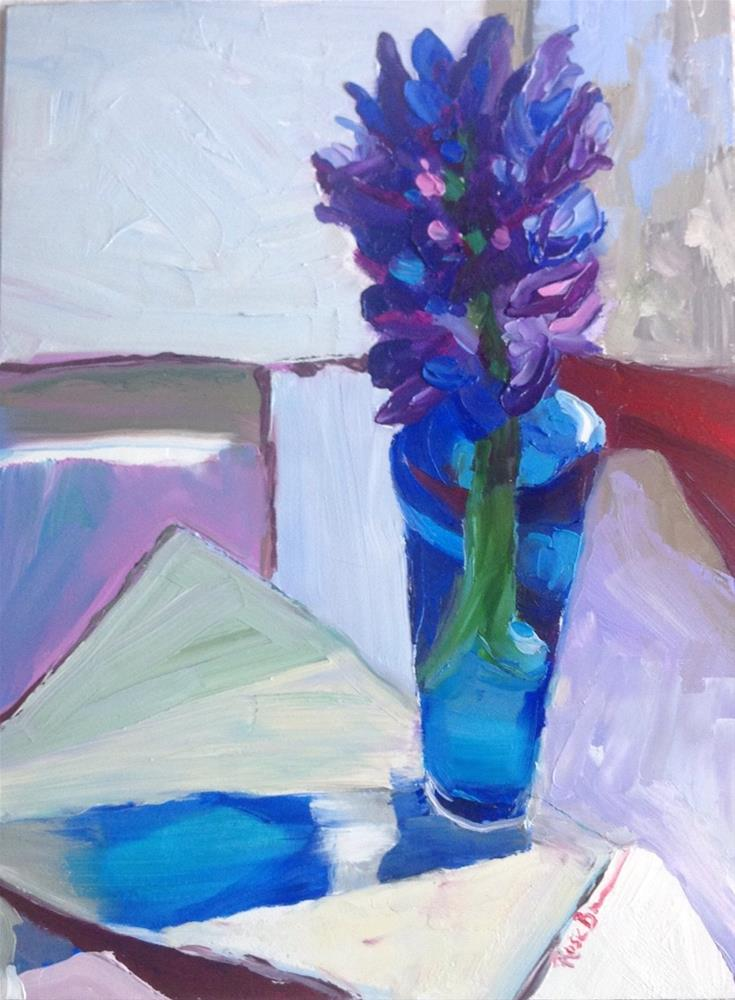 """""""The First Blue Hyacinth of the Season"""" original fine art by Rose Brenner"""