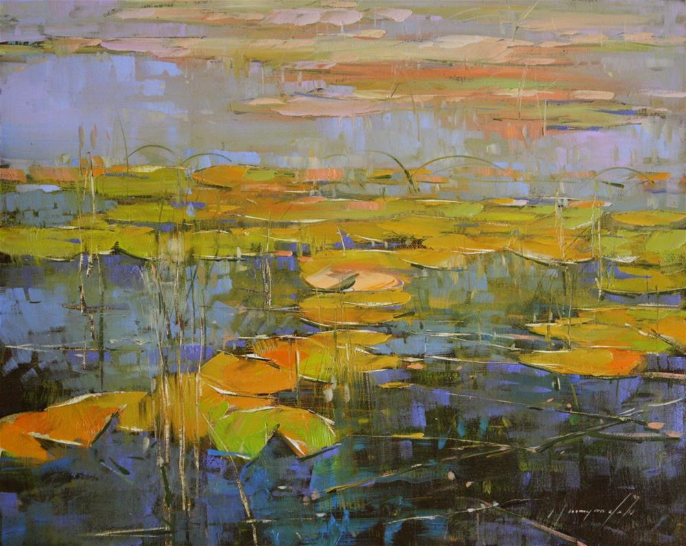 """WATERLILIES PARK ORIGINAL OIL PAINTING"" original fine art by V Yeremyan"