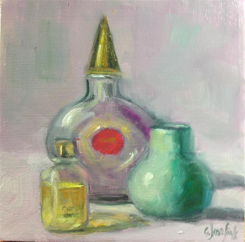 """My Grandmother's perfume bottle"" original fine art by Carol Josefiak"