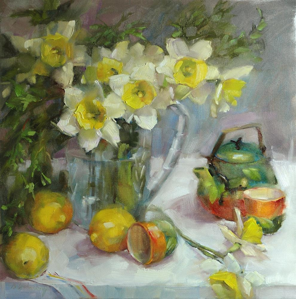 """Daffodils at Tea"" original fine art by Barbara Schilling"