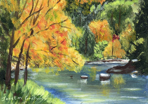 """Fall River ACEO"" original fine art by Janet Graham"