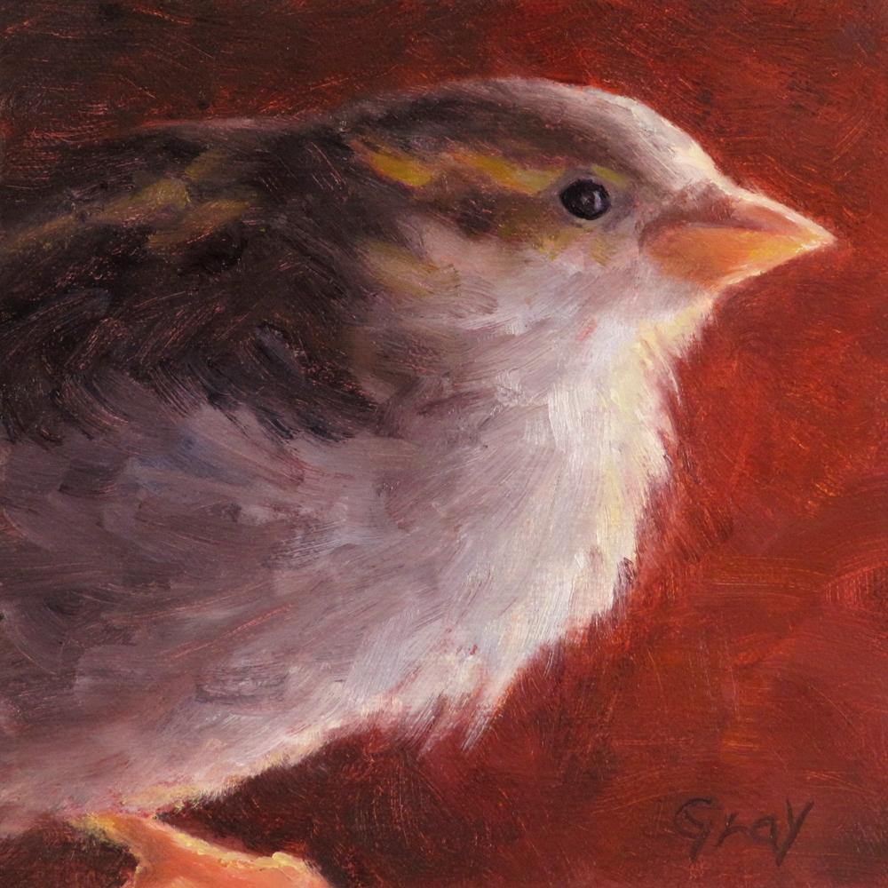 """Tango for Tobi the Sparrow"" original fine art by Naomi Gray"