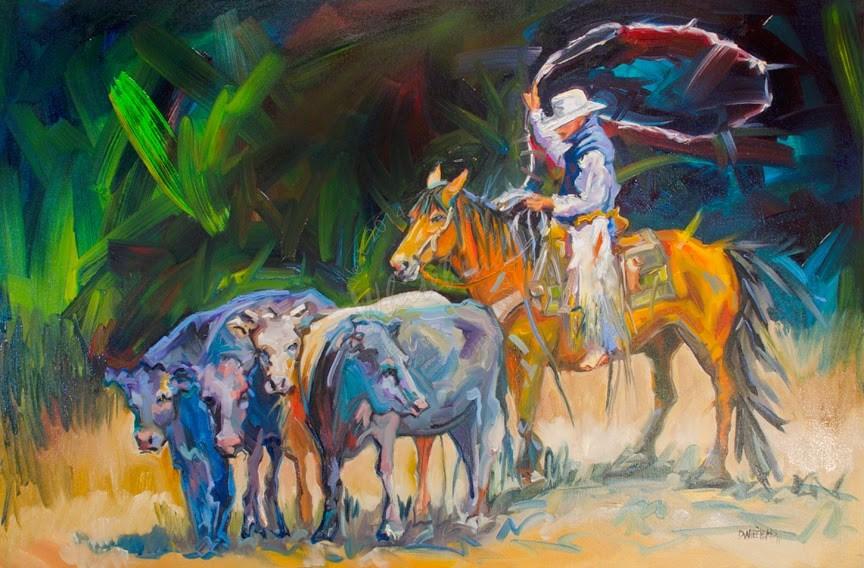 """ARTOUTWEST DIANE WHITEHEAD COWBOY CATTLE WESTERN ART"" original fine art by Diane Whitehead"