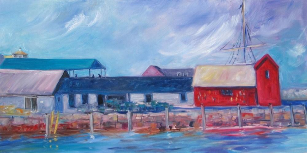 """Framed """"Rockport Rooflines original fine art by Lynne Schulte"""