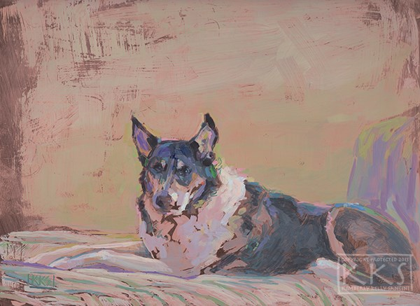 """Bodhi, a dog portrait on copper, by Kimberly Kelly Santini"" original fine art by Kimberly Santini"