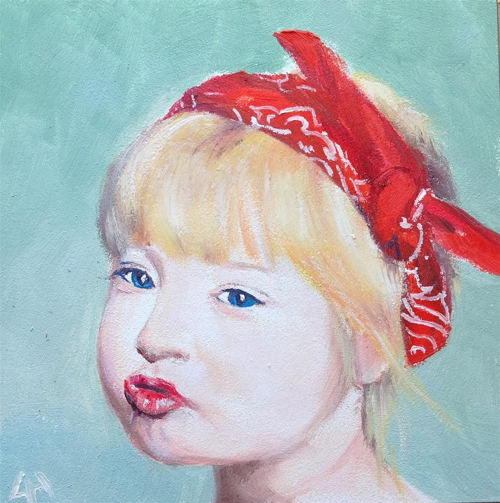 """puckered lips"" original fine art by Hui (Hue) Li"