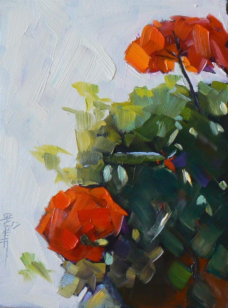 """Small Floral Still Life, Cindy's Geranium's 6x8 Oil Painting"" original fine art by Carol Schiff"
