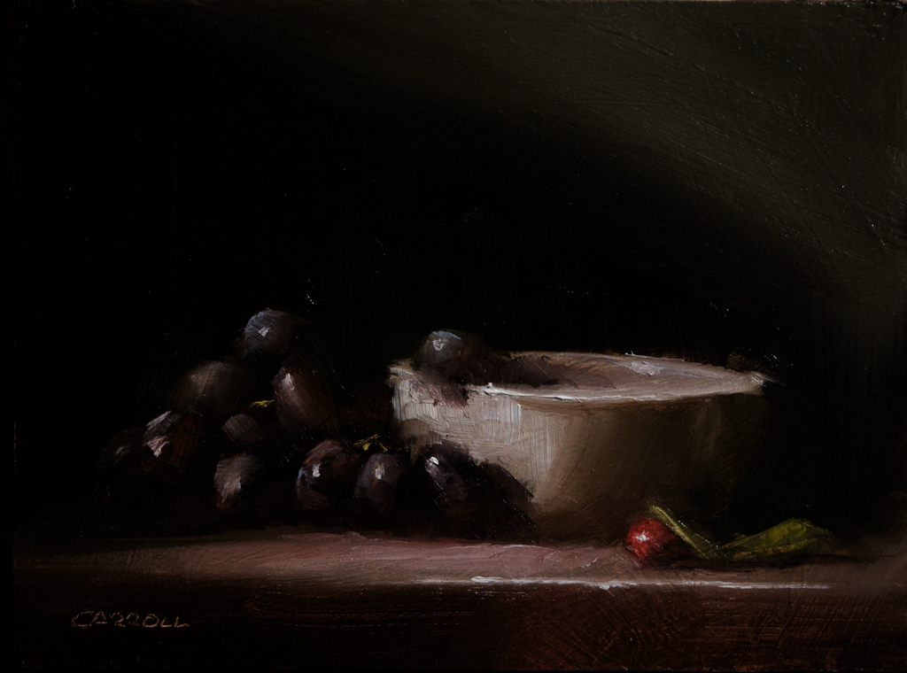 """White Bowl with Grapes"" original fine art by Neil Carroll"