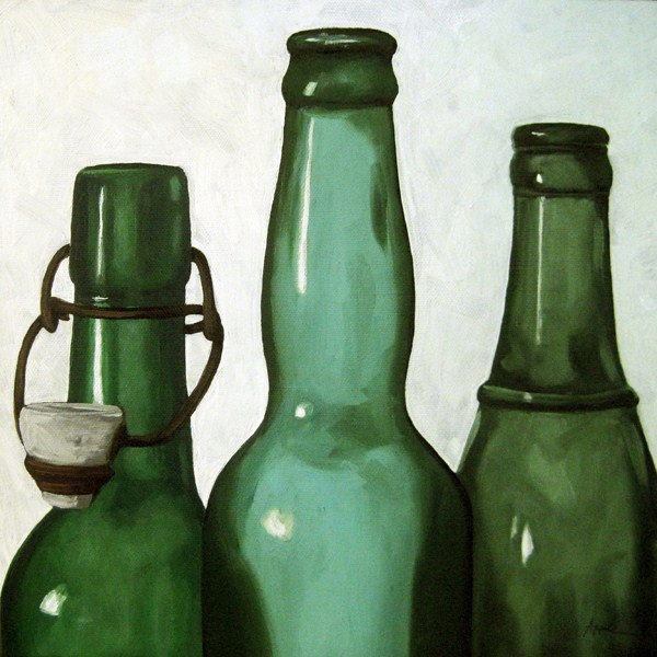 """Green Bottles - realistic still life oil painting"" original fine art by Linda Apple"